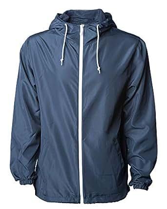 Global Men's Hooded Lightweight Windbreaker Winter Jacket Water Resistant Shell (Navy/White, X-Large)