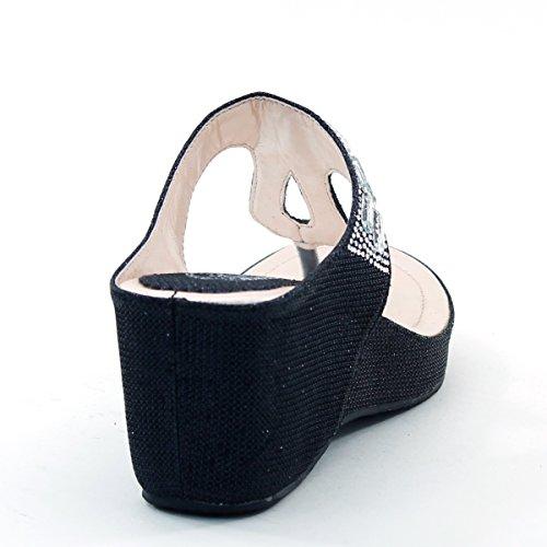 Nieuw Brieten Dames Strass Ornament T Band Comfort Platform Wedge Slide Sandalen Zwart