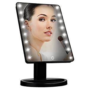 Lighted Vanity Makeup Mirror with 16 Led Lights 180 Degree Free Rotation Touch Screen Adjusted Brightness Battery USB Dual Supply Bathroom Beauty Mirror