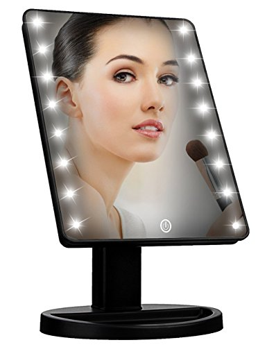 Lighted Vanity MakeUp Mirror with Smart Dimming Touch Screen Adjustable Brightness 180 Rotation High Definition Clarity Room Decor Valentines Mothers Day Gift For Lovers Teens Girls Ladies (Pretty Girl Halloween Makeup)