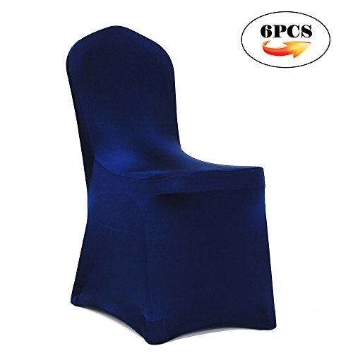 Meijuner 6PCS Universal Shiny Lycra Stretch Chair Cover Spandex Slipcovers  Dining Chair Seat Cover For Wedding Christmas Party Banquet Home Decoration  (Navy ...