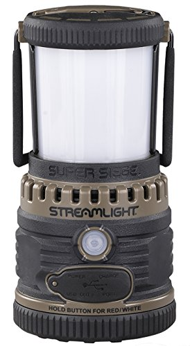 Streamlight High Intensity Lantern - Streamlight 44947 Super Siege 120V AC, Rechargeable and Portable USB Charger, Coyote - 1,100 Lumen