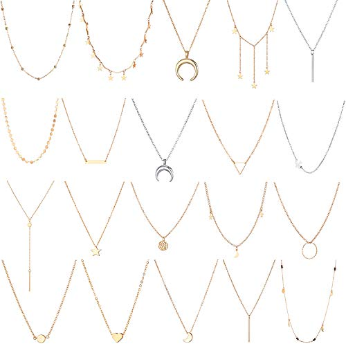 20 PCS Multiple DIY Layered Choker Necklace for Women with Sexy Coin Moon Star Multilayer Choker Chain Y Necklaces Set Adjustable Gold Silver Bar Pendant Y Necklace for Teens Girls - Necklace Set Bar