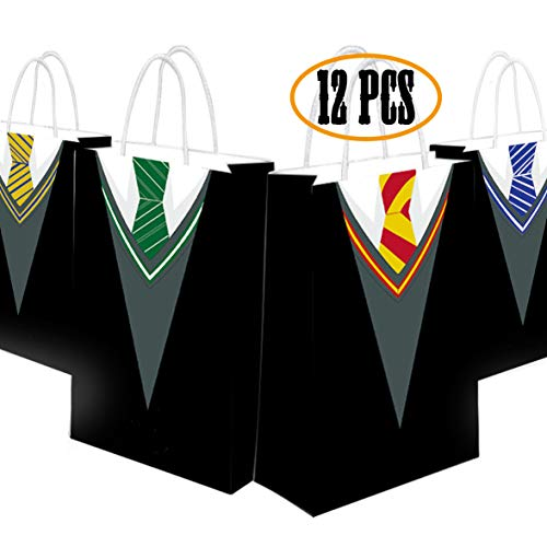 Happy Storm Potter Gift Bags Wizard Party Goodie Bag Favor Halloween School Tie Cosplay Party Supplies 4 Designs (12 pcs) -