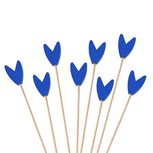 BambooMN Premium Decorative Tulip End Cocktail Fruit Sandwich Picks Skewers for Catered Events, Holiday's, Restaurants or Buffets Party Supplies - Blue, 5.9'', 300 pcs by BambooMN