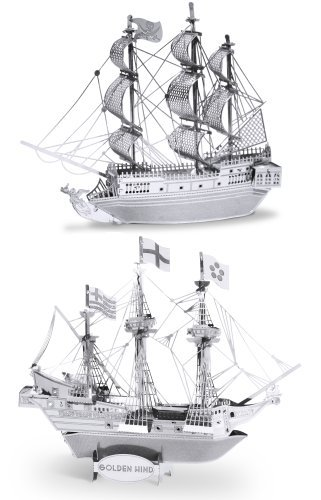 Metal Earth 3D Laser Cut Steel Models - Black Pearl Ship AND Golden Hind Ship = SET OF 2 Model:
