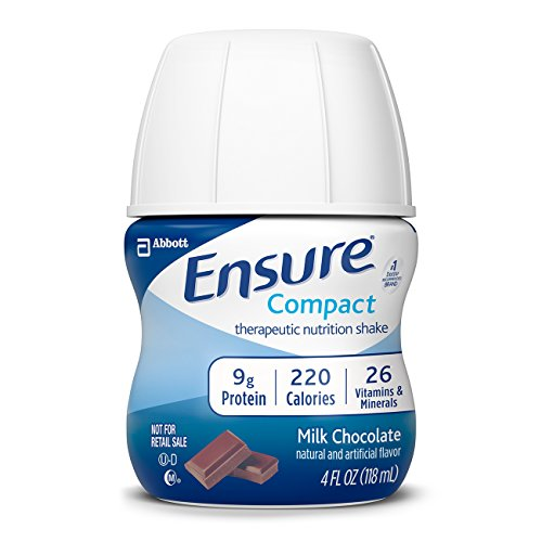 Ensure Compact Nutrition Shake, 9g of protein, Milk Chocolate, 4 fl oz, 24 Count (Mini Milk Chocolate Bottle)