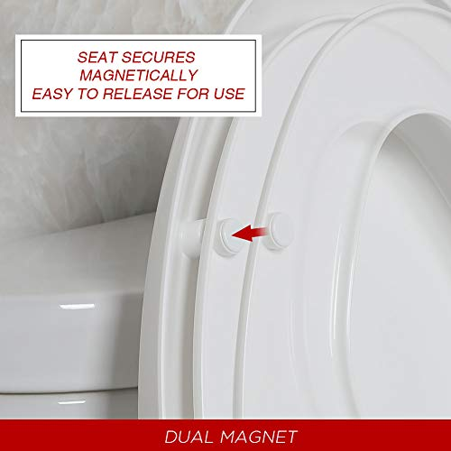 White Fits both Adult and Child Elongated Toilet Seats with Built in Potty Training Seat Antibacterial Plastic Slow Close