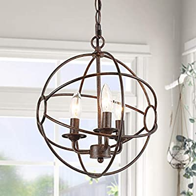 "ISURAUL 3-Light Industrial Globe Chandeliers, 12"" Orb Pendant Lighting, Wrought Iron Hanging Light Fixture with Bronze Finish"