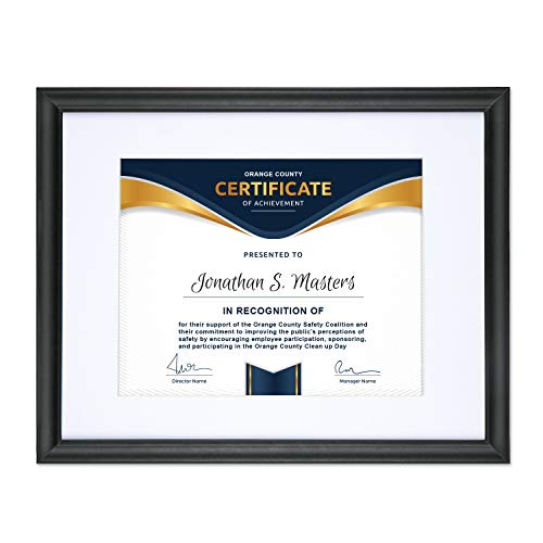 Icona Bay 11x14 Certificate Picture Frame Matted to Display 8.5x11 Photo (1 Pack, Black), Mat Black Diploma Photo Frame, Composite Wood Frame for Walls or Tables, Set of 1 Lakeland Collection