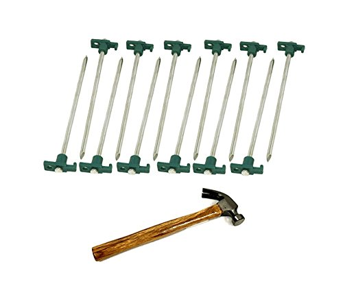 Set of 12 Heavy Duty Tent Pegs – 10.5'' Metal Forged Steel Tent Tarp Stake / and A Hammer by THE UM24