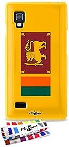 Carcasa Flexible Ultra-Slim LG OPTIMUS L9 de exclusivo motivo [Bandera Sri Lanka] [Amarillo] de MUZZANO  + ESTILETE y PAÑO MUZZANO REGALADOS - La Protección Antigolpes ULTIMA, ELEGANTE Y DURADERA para su LG OPTIMUS L9