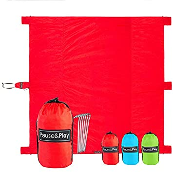 Pause Play Oversized 10 x9 Outdoor Blanket 40 Larger vs Other Mats, Water Resistant Sand Proof Throw for Picnic, Camping, Beach, Festival Accessories Included