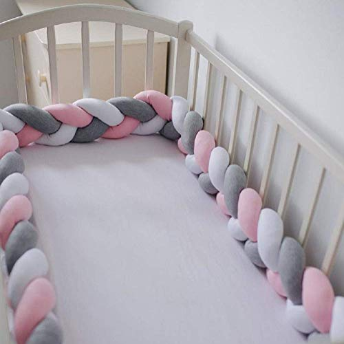 Baby Braided Crib Bumper Soft Knot Pillow Protective & Decorative Long Baby Nursery Bedding Cushion Knot Plush Pillow for Toddler/Newborn Gray+White+Pink 157 inch