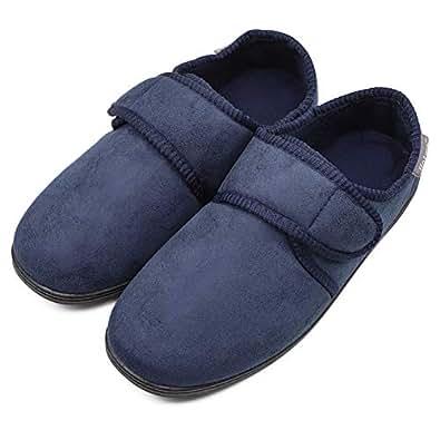 MediFeet Mens Comfy Memory Foam Diabetic Slippers Adjustable Extra Wide Edema House Shoes for Swollen Feet Elderly Seniors Navy