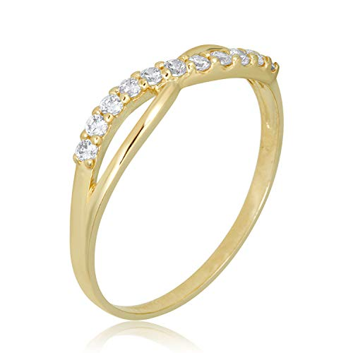 AVORA 10K Yellow Gold Simulated Diamond CZ Cross-Over Infinity Twist Band Ring