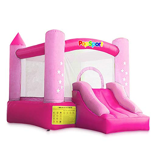 (Happybuy Inflatable Castle Bounce Outdoor Bounce Castle with Slider Blower Indoor Inflatable Bounce for Kids (9.5x6.5x6.5Ft\Red&Pink))