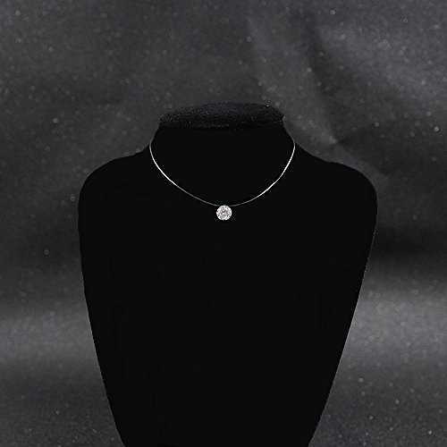 LOCHING 925 Silver One Pearl Zircon Solitaire Choker Invisible Fishing Line Necklace (Zircon) by LOCHING (Image #7)