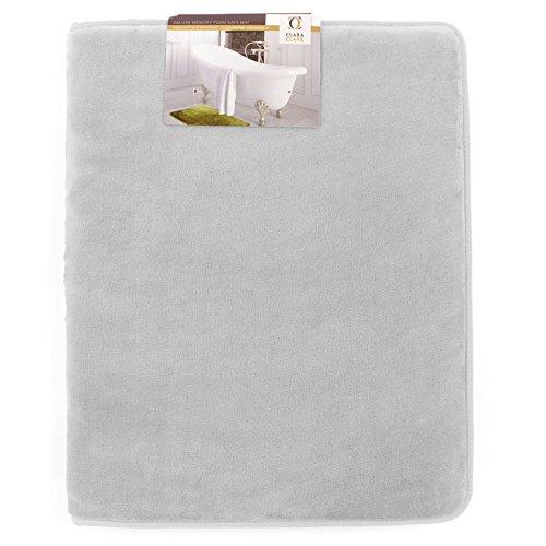 Clara Clark Bath Mat Bathroom Rug - Absorbent Memory Foam Bath Rugs - Non-Slip, Thick, Cozy Velvet Feel Microfiber Bathrug, Plush Shower, Toilet Floor Bathmats Carpet - Silver - Small Size 17