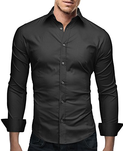 Marco Marcucci Men's Premium Dress Shirt Flim Fit - Long Sleeve Basic - Breathable