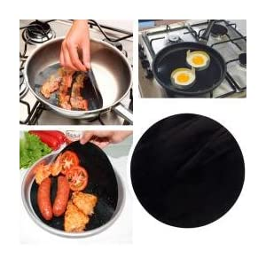 Round BBQ Grill Mat Set of 4 Large Oven Liners 100% CERTIFIED PFOA & BPA FREE | Reusable,Non-Stick | For Gas, Electric, Microwave & Toaster Ovens | Works as Baking Mat 15x15 inch