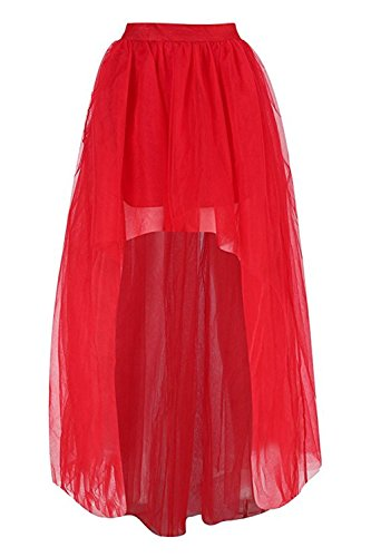 Dannifore Women's Red Mesh Tulle High Low Dance Party Skirt A-Line Petticoat For Dresses