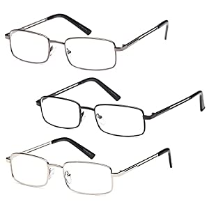 GAMMA RAY 3 Pairs of Stainless Steel Metal Readers 1.50 Magnification