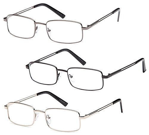 GAMMA RAY 3 Pairs Rectangle Stainless Steel Metal Reading Glasses - 1.50x by Gamma Ray Optics