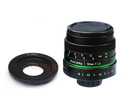 Fotasy 5018E 50mm F1.8 APS-C Manual E-Mount Lens for Sony E-Mount NEX Mirrorless Camera (Black)