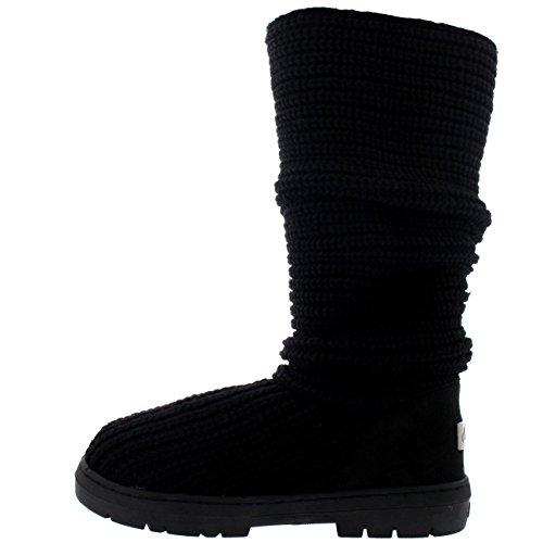 Holly Pluie Tricote Botte Grande Tricote Impermable De Noire Neige D'hiver Femmes La Pour A6xfOAZTq