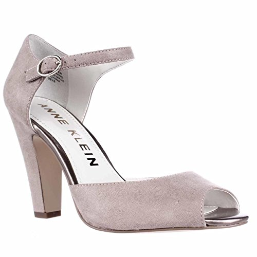 Anne Klein Womens Henrika Leather Peep Toe Ankle Strap D-Orsay, Taupe, Size 6.0