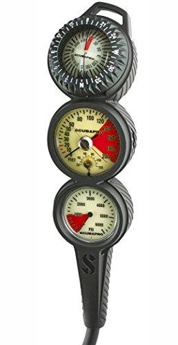 Scubapro In-Line 3 Gauge Console, High Pressure Hose (3 Gauge Dive Console)