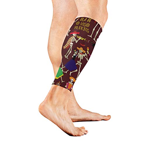 Leg Sleeve Halloween Skull Music Party Compression Socks Support Non Slip Calf Sleeves Pads - Improve Circulation for Shin Splint, Calf Pain Recovery, Running, Cycling, Travel, 1 Pair -