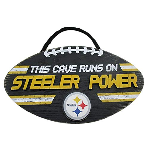 FOCO NFL Team Logo Football Shape Mancave Man Cave Hanging Wall Sign (Pittsburgh Steelers) ()