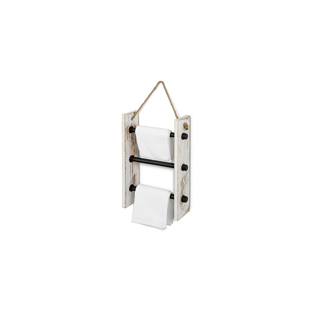 MyGift 3-Rung Wall-Hanging Industrial Pipe & Whitewashed Burnt Wood Hand Towel Storage Ladder with Rope