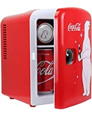 Coca-Cola KWC4, 4 Liter And 4.2 Quarts 6 Can Portable Mini Cooler And Fridge for Food, Beverages, Baby Food, Skincare and Medications-Use at Home, Office, Dorm, Car, RV or Boat-with AC And DC Plugs