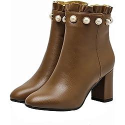 Vaneel Womens vbn17 Round-Toe 7CM Zipper Boots Shoes, Brown B, 8.5 US