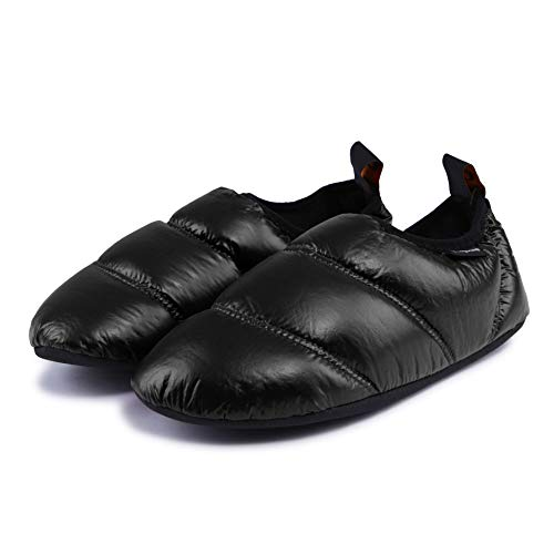 KingCamp Unisex Warm Soft Camping Slippers with Slip Resistant Rubber Sole & Carry Bag (6 Colors) (8.5-9, Black)