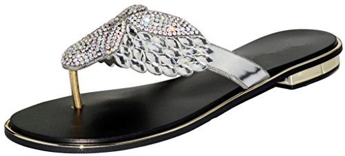 (LizForm Rhinestone Studded Sandals T-Strap Slide Leather Sandal Sparkle Flip Flop Sandal Silver 6)
