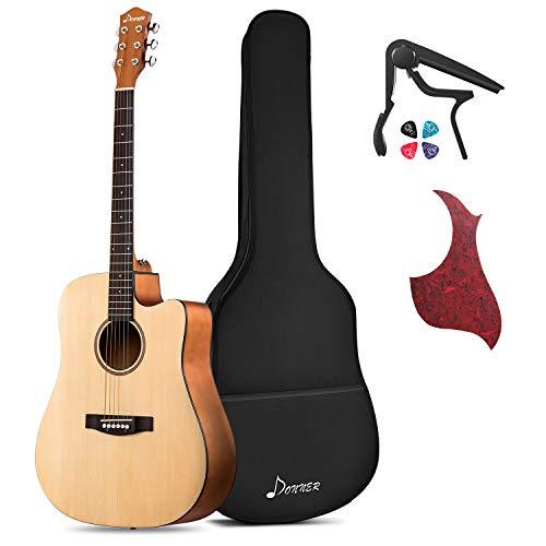 "Donner DAD-140C Beginner Acoustic Guitar Full Size, 41"" Cutaway Guitar Bundle with Gig Bag Capo Picks Strap String"