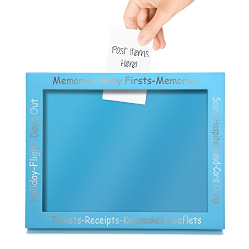 CKB Ltd Blue Display Frame For Baby First Memories - Premium Memory and Keepsake Picture Frame Display Box - Perfect Pregnancy or New Born Gift