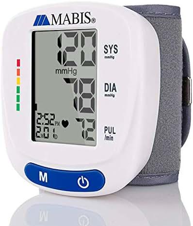 Blood Pressure Monitor Wrist Cuff - MABIS Digital Portable Wireless Blood Pressure Gauge Kit Monitors for Pulse, Irregular Heartbeat, High & Low Blood Pressure