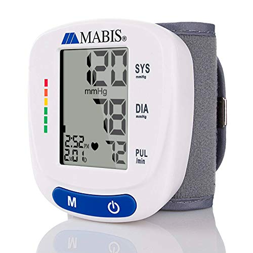 Blood Pressure Monitor Wrist Cuff - MABIS Digital Portable Wireless Blood Pressure Gauge Kit Monitors for Pulse, Irregular Heartbeat, High & Low Blood Pressure ()