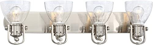 Minka Lavery Wall Light Fixtures 3414-84 Wall Bath Vanity Lighting, 4-Light 400 Watts, Brushed Nickel