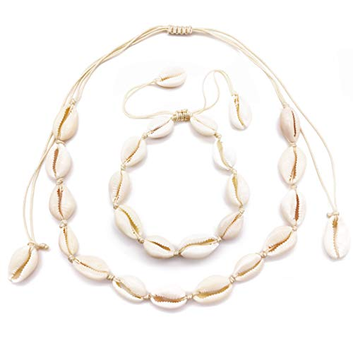 Daogtc Natural Cowrie Shell Necklaces Beads Handmade Beach Choker for Girls Women (White Necklace+Anklet)