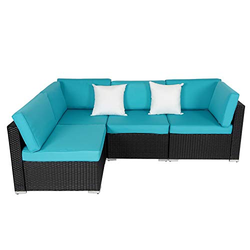 Kinsunny Peach Tree 4 PCs Outdoor Patio Furniture Set, Wicker Sofa Chairs Black Rattan Thick Cushions with 2 Pillows