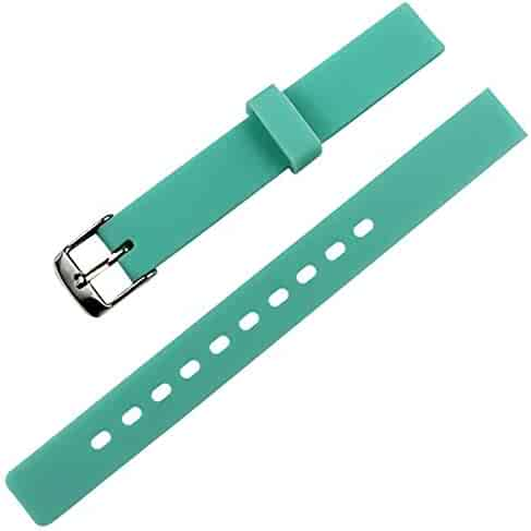 MCXGL Children's Candy Color Silicone Watch Band Waterproof Rubber Stainless Steel pin Buckle Strap 12mm