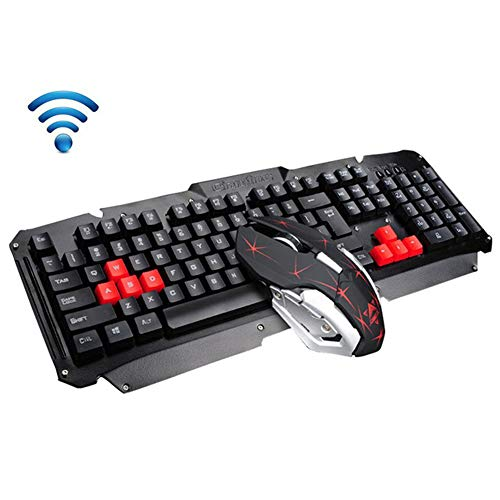 Wireless Keyboard and Mouse Set,Metal Panel 2.4GHz Multimedia Ergonomic USB Gaming Keyboard+1600DPI 6 Buttons Gamer Optical Mouse for PC Laptop TV Box Home Office Use (Black)