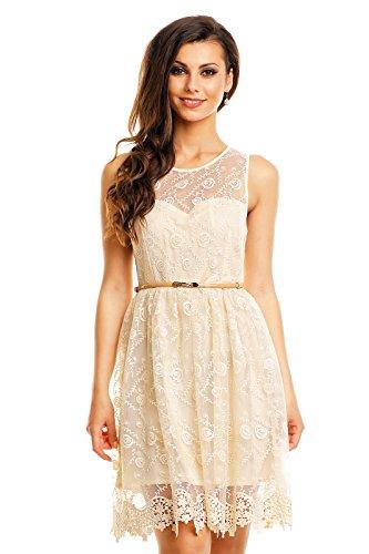 Mayaadi Kleid mit Gürtel SpitzenKleid BallKleid FestKleid AbendKleid ...