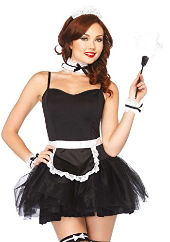 Leg Avenue Women's 4 Piece French Maid Costume Kit, Black/White, One Size (Womens Sexy French Maid Costume)